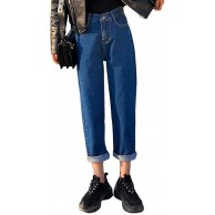 ORANDESIGNE Damen Jeans Hose Boyfriend Baggy Stretch Relaxed Straight Fit Jeans Bekleidung