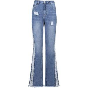 XIANGCHEN Mode Damen High Waist Hosen Stretch Wide Leg Bootcut Jeans Streetwear Lose Casual Baggy Hose Bekleidung