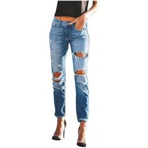 Ansenesna Jeans Hose Damen Mit Löchern Elegant Hosen Frauen Destroyed Zerissene Lang Denim Freizeithose Risse Ripped Jeans Bekleidung