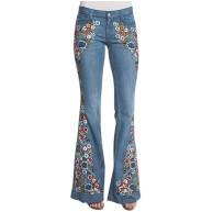 Ansenesna Schlaghose Damen Jeans Blumen Stickerei Elegant Hose Frauen Flared Slim Fit Vintage Denim Lang Hosen Bekleidung