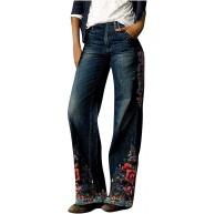 Covermason Damen Jeans Avantgarde Baggy Jeanshosen Mit Blumen Motiv Stretch Jeanshose Bekleidung