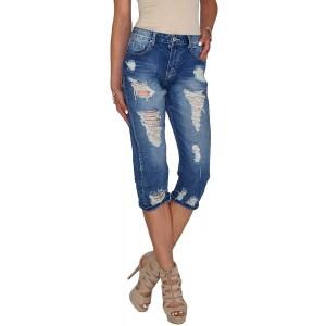 Dresscode-Berlin DB Damen High Waist Boyfriend Baggy Capri 3 4 tel Mom Röhrenjeans mit Rissen in blau Bekleidung