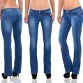 ESRA Damen Jeans Hose Bootcut Jeanshose Boot-Cut Hüftjeans Low Rise Jeans J272 Bekleidung