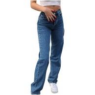 Innerternet Damen Jeanshosen Y2K Asymmetrische Loch Jeans High Waist Stretch Denim Pants Casual Baggy Gerade Jeanshose E-Girl Streetwear-Hose Bekleidung
