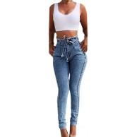 NOBRAND High Waist Jeans für Frauen Slim Stretch Denim Jeans Bodycon Quaste Gürtel Bandage Skinny Push Up Jeans Frau Jeans Bekleidung