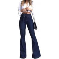 Sopliagon Damen Denim Jeans Hose Hoch Aufgenommen Spannend Bandage Glocke Lange Hose Bekleidung