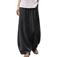 YESNO Women Casual Loose Cropped Pants Denim Bloomers Elastic Waist Pockets PJD Bekleidung