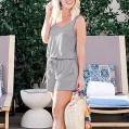 Chejarity Damen Kurz Jumpsuit O-Ausschnitt Elegant Jumpsuit lässig Mode Einfarbig Overall Hosenanzug Romper Ärmellose TaschePlaysuit Bekleidung
