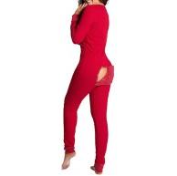 Clenp Damen-Jumpsuit sexy langärmelig Po offen Homewear Knopfleiste Bekleidung