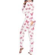 Damen Strampler Schlafanzug Einteiler Damen Jumpsuit Sexy Butt Button Back Flap Pyjamas Onesie Overall Jumpsuit Funktionale Einteiler Pyjama Hausanzug Bekleidung