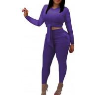 FOBEXISS Damen 2-teiliges Outfit-Set Rundhalsausschnitt lange Ärmel gerippt zum Binden bauchfreies Top Taschen lange Hose Set Jumpsuit Bekleidung