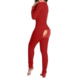 Fuyongkang Damen Overall Schlafanzug Sexy Butt Button Back Flap Jumpsuit Pyjama Jumpsuit Onesie Overall Einteiler Pyjama Schlafanzug Trainingsanzug Hausanzug Bekleidung