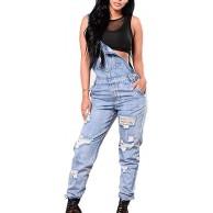 HX fashion Women Bib Overall Lässige Ärmellose Denim Jumpsuit Classic Mit Pocket Destroyed Bekleidung