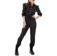Ital Design Damen Lederoptik Jumpsuit Overall Bekleidung