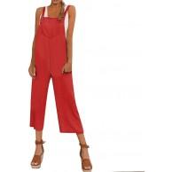 LIHAEI Jumpsuit Damen Sommer Womens Baggy Latzhose Long Playsuit Party Jumpsuits Breites Bein Hosenanzug Einfarbig Strap Belt Bib Hosen Bekleidung