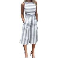 MRULIC Frauen-Sleeveless gestreifter Overall-zufälliger Clubwear Wide Leg Pants Outfit Bekleidung