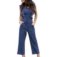 Overall Damen Lang Vintage Fashion Jeans Jumpsuit Festival Sommer Fashion Ärmellos Mit Rüschen Casual Bequem Weiten Bein Jeanshose Playsuit Romper Bekleidung