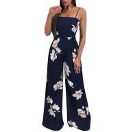 Rcool Damen Sommer Jumpsuit Lang Elegant Bedruckt Rückenfrei ärmellose Camisole Clubwear Playsuit Party Overall Hose Bekleidung