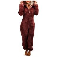 Ronony Damen Jumpsuit Overall aus Teddy Fleece Sportanzug Set Onesie Pyjama Herbst und Winter Plüsch Jumpsuit Kapuze Reißverschluss Langarm PyjamasOveralls Schlafanzug Freizeitkleidung Bekleidung