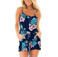 Style Dome Jumpsuit Damen Kurz Overall Blumen Casual Einteiler Romper Sommer Elegant Rückenfrei Spagettiträger Stretch Blau-G99145 M Bekleidung