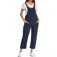Style Dome Latzhose Damen Loose Overall Sommerhose Träger Casual Ärmellos Jumpsuit A-Blau M Bekleidung