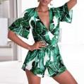 Tomatoa Damen Boho Jumpsuit Sommer Playsuits Druck V-Ausschnitt Frauen Einteiler Playsuit Hohe Taillen Casual Breites Bein Strandkleidung Bekleidung