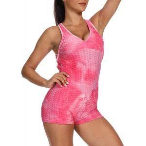 Vobery Workout Yoga-Sets Damen One Piece Tie Dye Textur Yoga Sport Fitness Butt Lift Anti-Cellulite-Shorts Jumpsuit Ärmelloser Rückenfreier Verbandanzug Mit Spielanzug Bekleidung