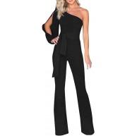 Yuwegr Damen Jumpsuit Mode Schulterfrei Overall Lange Party Playsuit Hohe Taillen Breite Bein Hose 7 Farbe S-XL Bekleidung