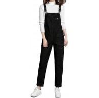 AiDeer Damen Classic Bib Overall Denim ärmellos Strampler Jeans Taschen Jumpsuit - Schwarz - XX-Large Bekleidung