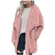 CixNy Mantel Damen Winter Warm Outerwear Langarm Tasche Plüsch Lässig Jacke Revers Fell Einfarbig Lange Parka Bekleidung
