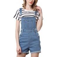 Hellomiko Damen Sommer Stretch Jeans Lässige Vintage Shorts Overall Bekleidung