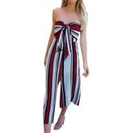 Keephen Frauen Striped Long Jumpsuit Sommer Sexy Culotte Jersey Bandeau V-Ausschnitt Tie Wide Leg Beach Casual Fitness Overall Bekleidung
