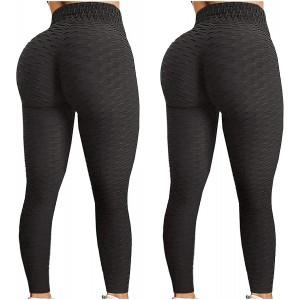 2 Stücke Leggings Damen Einfarbig Anti-Cellulite Yoga Leggings High Waist Anti-Falten Blickdichte Sportleggings Booty Push UP Jogginghose Bauchkontrolle Bekleidung