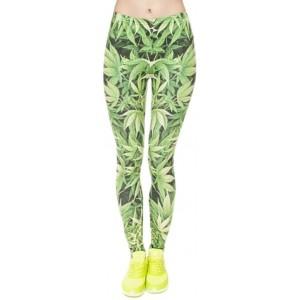 Alaani Hanf Blatt Cannabis Leggings grün Mod.2 Bekleidung
