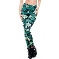 Alaani Hanf Blatt Cannabis Leggings grün-schwarz Mod.1 Bekleidung