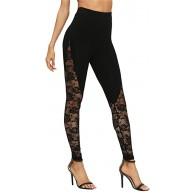 CHICTRY Damen Yoga Leggings Sport Transparent Mesh Spitze Hosen High Waist Sporthose Jogginghose Slim Fit Tights Pants für Freizeit Workout Bekleidung