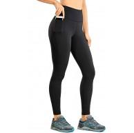 CRZ YOGA Damen Gebürstetes Fleece Trainingshose Hoch Tailliert Yoga Leggings mit Tasche -71cm Bekleidung