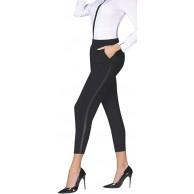 Firstclass Trendstore Elegante Business-Hose für Damen Gr. S-XXL dezent mit Lederoptik Damenleggings Leggins Leggings Büro festlich Bekleidung