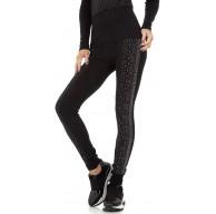 Ital Design Damen HIGH WAIST LEGGINGS Fashion Schwarz Bekleidung