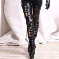 JEATHA Damen Leder Leggings Gothic Punk Strumpfhose Bleistifthose Kunstleder Schnürung Hose Tights Wetlook Dessous Clubwear Bekleidung