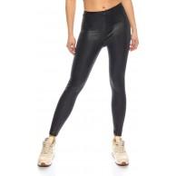 Kendindza Damen Wetlook Leggings Blickdicht elastisch High-Waist Bekleidung