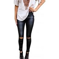 LOSRLY Leggings für Damen hohe Taille Skinny Hole Leder Bekleidung
