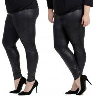 Magna Damen Hose Leggings Lederoptik - Freizeit- Party- und Fitness. Farbe Schwarz Hosengröße 56 58 Bekleidung