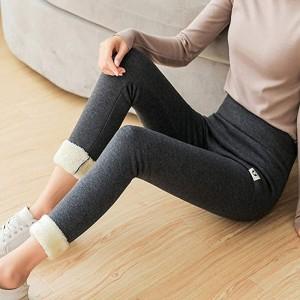 MEIZHEN Damen Super Thick Cashmere Leggings Damen Winter Plüsch Warm Hohe Taille Elastic Slim Pants Bekleidung