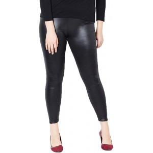 Nuofengkudu Damen Schwarz Leder Leggings Große Größen Stretch Lederhose Seamless Lederleggins Bekleidung