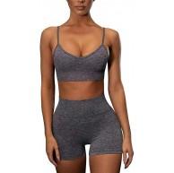 OBEEII Damen Yoga Trainingsanzüge Sportanzüge Crop-Top & High-Waist Leggings Jogginganzug Sportswear Set für Gym Joggen Trainings Fitness Laufen S-L Bekleidung