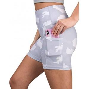 YEBIRAL Damen Leggings Kurze Sporthose High Taille Leggins Radlerhose Sommer Camouflage Blickdicht Yoga Hose Workout Shorts Sport Tights Fitnesshose mit Taschen Bekleidung