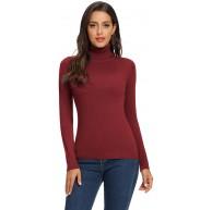 Avacoo Damen Rollkragenpullover Strickpullover Basic Langarmshirt Super Soft Pullover Bekleidung