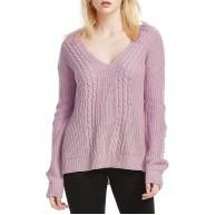 Damen Pullover Strick Winter Oversize V-Neck Langarm Loose Mode Freizeit Warmer Sweater Sweatshirt Oberteile Tops Bekleidung