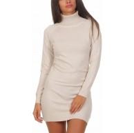 Fashion4Young 11392 Damen Feinstrick Pullover Strickkleid Strickpullover Rollkragen Minikleid Rollkragenpullover Bekleidung